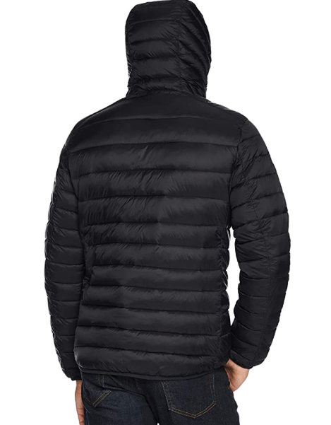 Essentials Mens Lightweight Water-Resistant Packable Hooded Puffer Jacket